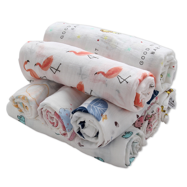 Baby Muslin Swaddles Soft Newborn Blankets Bath Quilt Gauze 100% Cotton Infant Wrap Sleepsack Play Mat Baby Deken