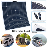 160W 18V Flexible Monocrystalline Solar Panel 12V Battery RV Boat Car Home Solar Power Ultra Lightweight Ultra Thin Boats Roofs