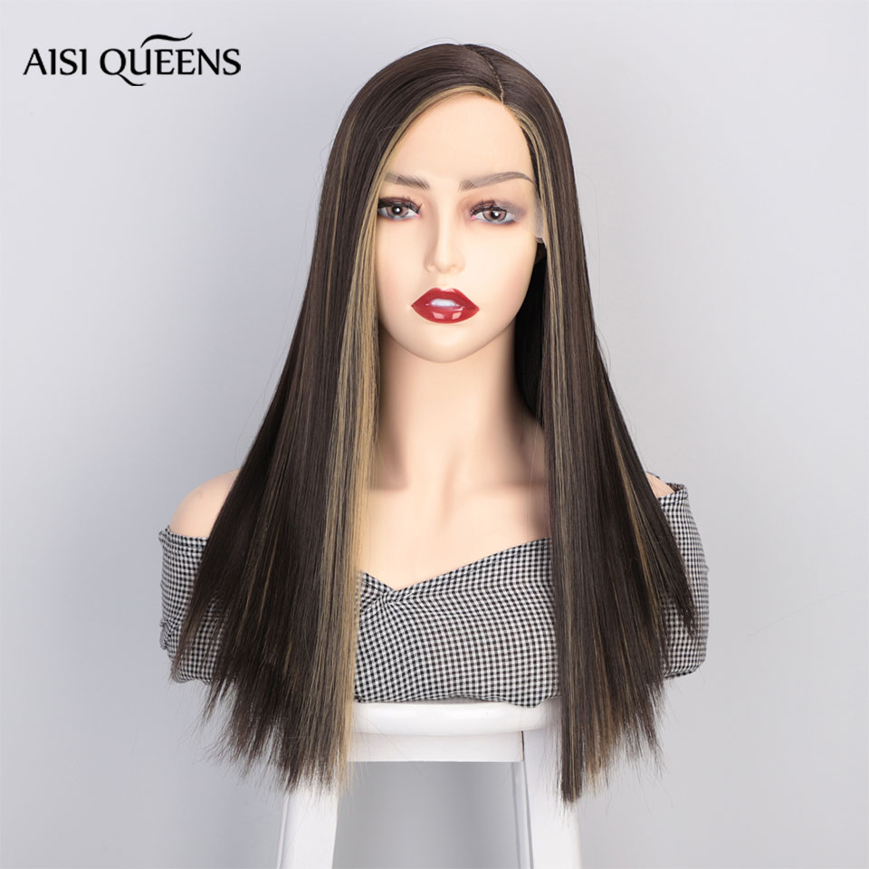 AISI QUEENS Synthetic Lace Front Wig For White /Black Women Straight Long Black Mix Blonde Wigs Middle Part Natural Cosplay Wig