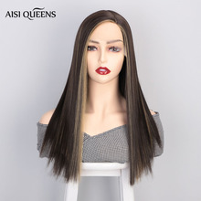 AISI QUEENS Synthetic Lace Front Wig for White /Black Women Straight Long Black