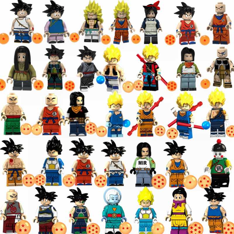 Single Sale Figures Dragon Ball Z Super Saiyans Cell Vegeta Goku Gogeta Anime Building Blocks Toys for Children Juguetes Gifts
