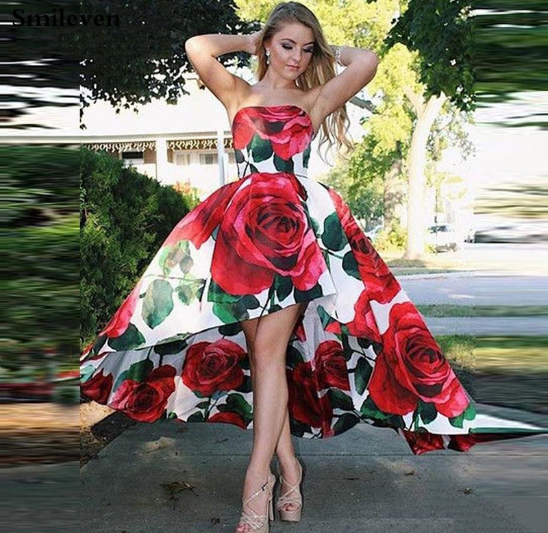 Smileven Printing Prom Gowns Rose Flowers Formal Party Dress High Low Arabic Robe De Soiree Strapless Evening Gowns