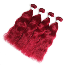 99J/Burgundy Human Hair Bundles With Closure 4×4 Non-Remy Red Color Brazilian Natural Wave Human Hair Bundles 3/4 PCS