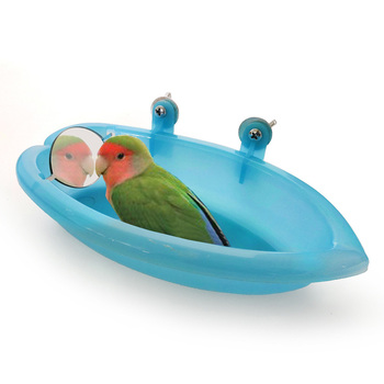 1Pc Parrot Bathtub With Mirror Pet Cage Accessories Bird Bath Shower Box Small Toys