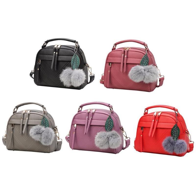 PU Leather Handbag For Women Girl Fashion Tassel Messenger Bags With Ball Bolsa Female Shoulder Bags Ladies Party Crossby Bag