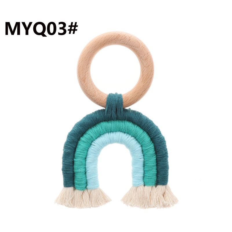 Rainbow Tassel Macrame Wooden Boho Baby Teether Cotton Cord Wood Teething Toy Shower Gift 72XC