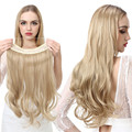 SARLA Natural Synthetic Halo Hair Extensions No Clip In Artificial Fake Ombre Blonde Brown Black Pink Red Wavy False Hair Piece
