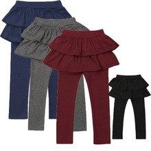 Pudcoco/Новинка года; модные От 3 до 11 лет брюки для маленьких девочек; юбка-брюки; леггинсы; Однотонная юбка-пачка; леггинсы; сезон зима