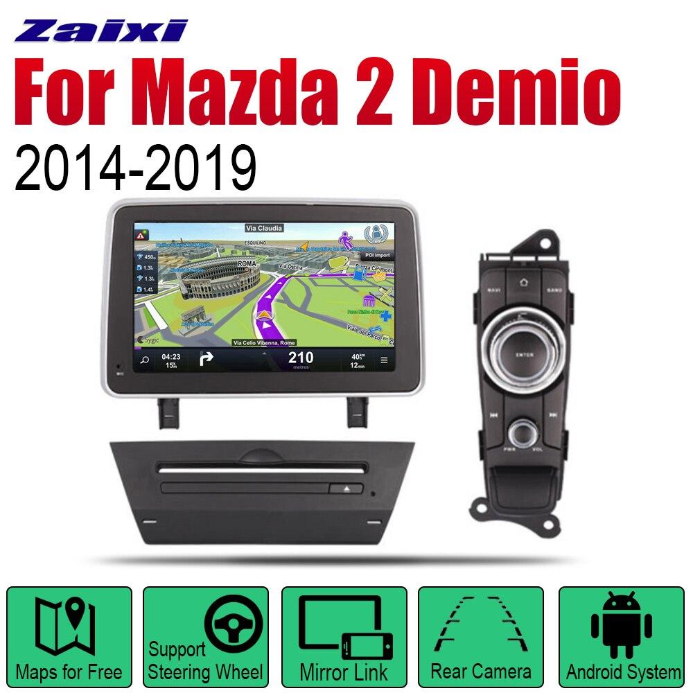 Zaixi android carro dvd gps navi para mazda 2 demio 2014 player 2019 jogador de navegação wifi bluetooth sistema mulitmedia áudio estéreo eq