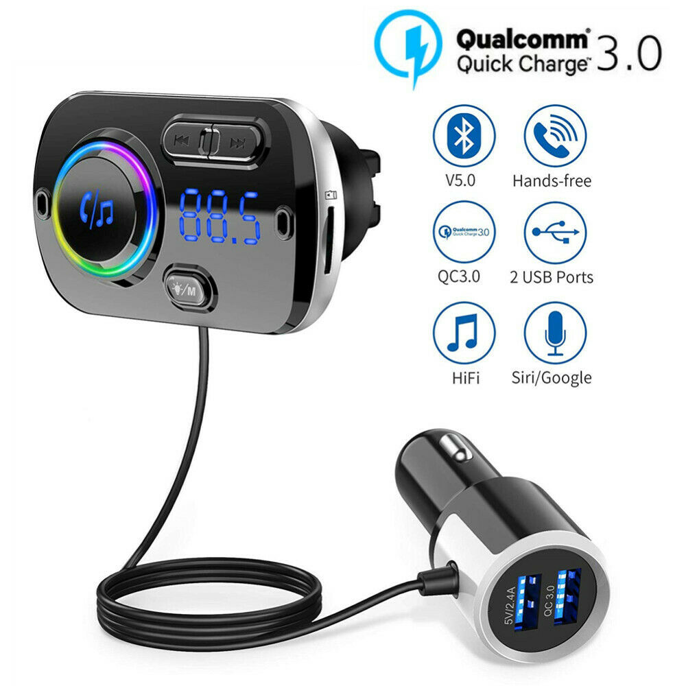 Car Bluetooth 5.0 FM Transmitter Auto FM Modulator Audio Receiver Wireless MP3 Player TF Card Fast Charger With 7 Colors Lamp