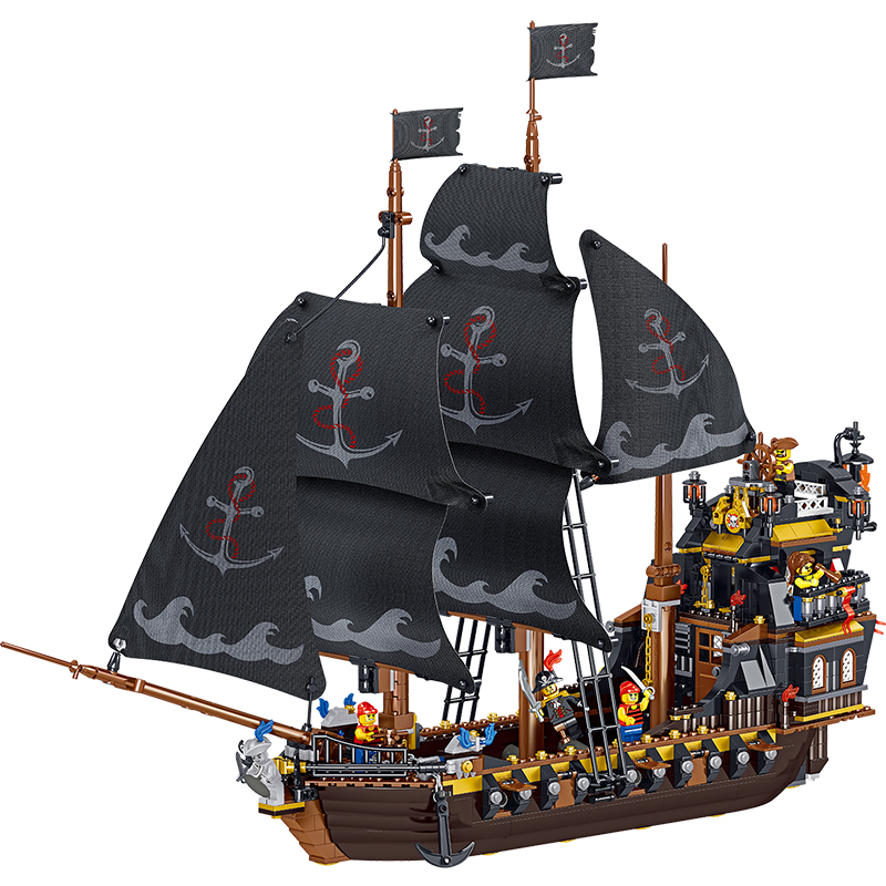 Pirates Of The Caribbean The Black Eternal Pirate Ship Boat Building Blocks Fit Lepining Creator Technic Bricks Children Toy