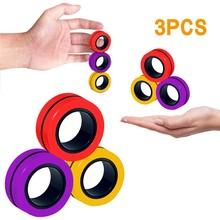 Decompression Toy Bracelet-Tool Anti-Stress Ring-Props Magnetic Magic Random 3pc J0636