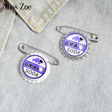 Juice Soda Bottle cap Brooches Custom Capsule Brooches Bag Shirt Lapel Pin Buckle Grape Jewelry Gift for Kids Friend