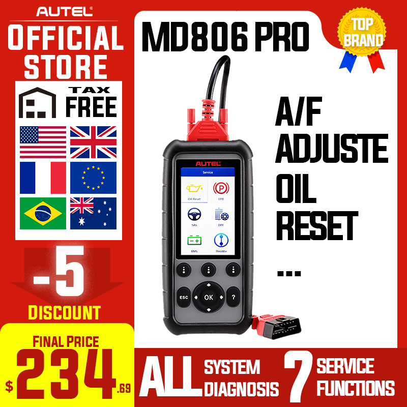 Autel MaxiDiag MD806 & MD806 Pro OBD2 Car Automotive Diagnostic Tool OBD 2 Auto Scanner Full System Diagnoses PK MD802 MD805 image