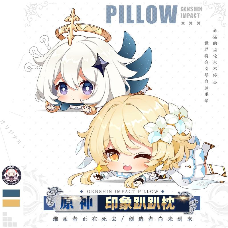 Game Anime Genshin Impact Klee Lisa Player Paimon  Jean Venti Cute Plush Doll Throw Pillow Cartoon Sofa Bed Sofa Cushion Gifts