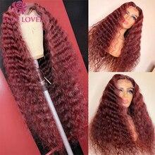 Цветные бордовые 99J парики из человеческих волос с глубокой волной на сетке спереди, прозрачные предварительно выщипанные бразильские воло...
