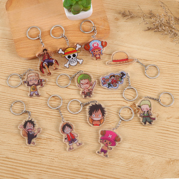 New Style Animation Acrylic Double Bag Pendant Key Chain Lovable Sea Thief King Lufei Keychain Exquisite Small Cartoon Keyring image