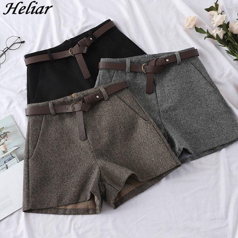 HELIAR Outerwear Short Wide-Leg Autumn High-Waist Fashion Casual Women Sashes with Warm