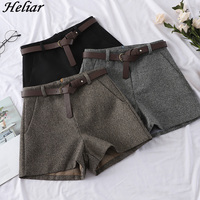 HELIAR 2019 Autumn Winter Women Fashion Woolen Shorts Outerwear Casual High Waist Short With Sashes Wide Leg Woman Warm Shorts