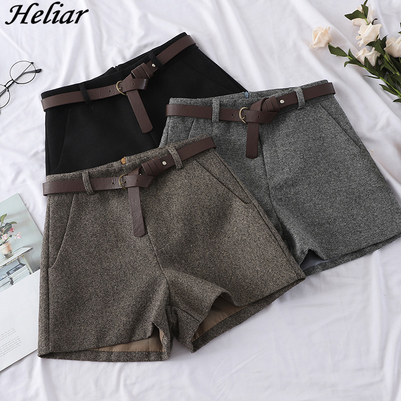 HELIAR 2020 Spring Autumn Women Wide Leg Woolen Shorts Outerwear Casual High Waist Short With Sashes Women Warm Woolen  Shorts