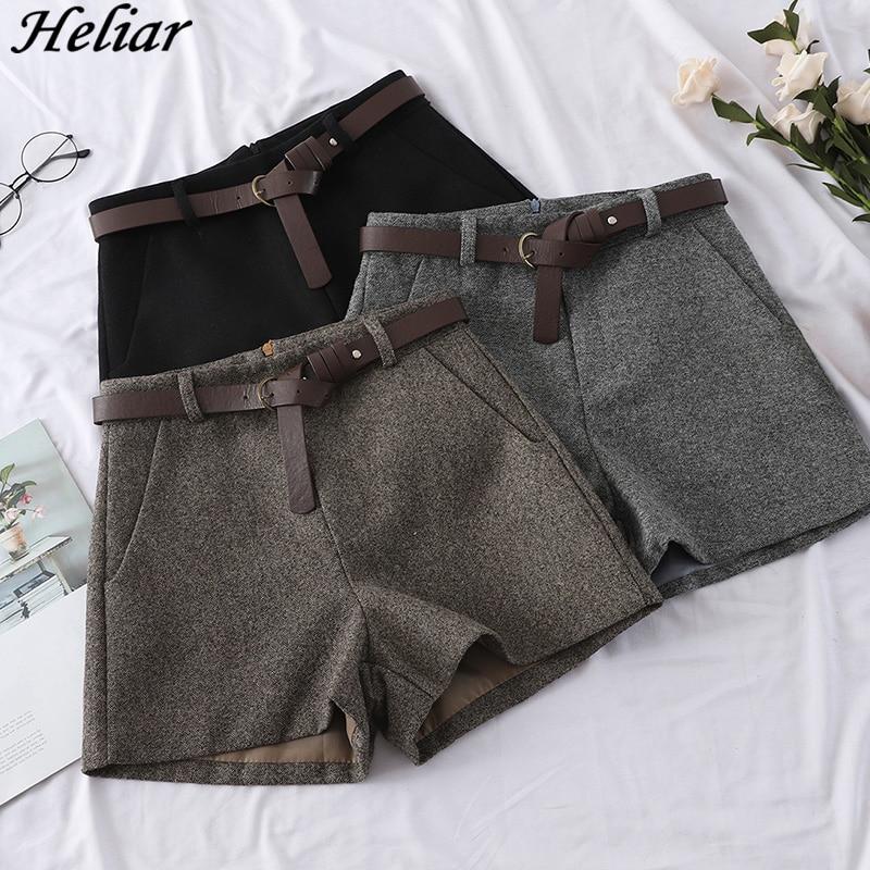 Heliar Pantalones Cortos De Lana De Pierna Ancha Para Mujer Shorts Informales De Cintura Alta Con Cinturones Elegantes Otono 2020 Pantalones Cortos Aliexpress