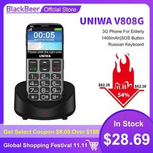 Image 1 - Uniwa V808G 2.31 Inch Mobiele Telefoon 3G Wcama Cellphone Voor Senior Oude Man Sos 1400 Mah Russische Toetsenbord 2G Mobiele Telefoon Voor Ouderen