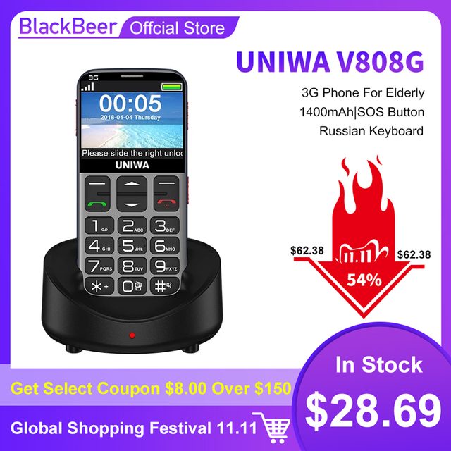 Uniwa V808G 2.31 Inch Mobiele Telefoon 3G Wcama Cellphone Voor Senior Oude Man Sos 1400 Mah Russische Toetsenbord 2G Mobiele Telefoon Voor Ouderen