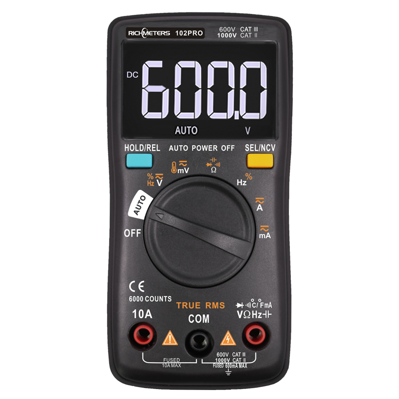 RM101 Digitale multimeter 6000 telt Achtergrondverlichting AC / DC Ampèremeter Voltmeter Ohm Draagbare spanningsmeter RICHMETERS 098/100/109/111