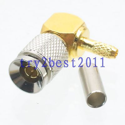 DHL/EMS 50 Pc Connector 1.0/2.3 DIN Plug Pin Crimp RG174 RG316 LMR100 COAXIAL Right Angle -C1
