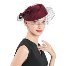 Autumn Winter Wedding Woman Hat Fedoras Vintage Wool Felt Fe