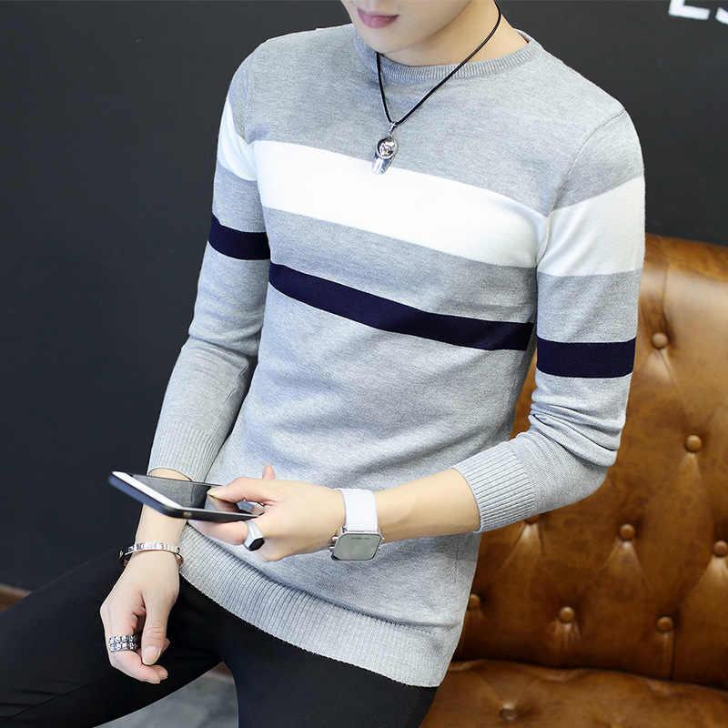 Suéteres de moda para hombre estilo de lana de algodón a rayas cuello redondo para hombres abrigos suéter Regular Arco Iris 2019 nueva ropa de invierno Preppy