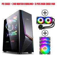 Gaming RGB Computer Fall Gehärtetem Glas Voll Seite Durchlässig Desktop Wasser-Gekühlt Wichtigsten Box ATX PC Fall AMD Ryzen 5 3500X Kit