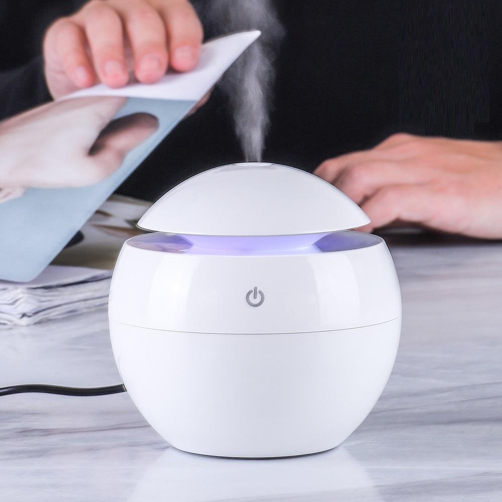KBAYBO 130ML Mini USB Aroma Essential Oil Diffuser Ultrasonic Mist Humidifier Air Purifier 7 Color Change LED Night Light