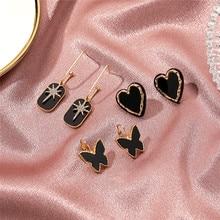 Luokey moda elegante preto borboleta coração brincos do parafuso prisioneiro sol vintage estrela hexagrama coreano brincos para mulheres jóias por atacado