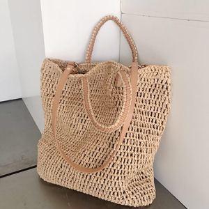Image 3 - 직조 중공 종이 밀짚 가방 어깨 가방 여성 비치 가방, 소녀 패션 여행 가방 여성 캐주얼 토트