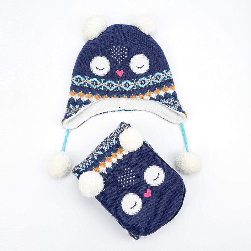 Girl Hat Scarf Set Winter Earflap Beanie Fleece Warm Autumn Pompon Cartoon Headwear Skiing Accessory Baby Toddler Outdoor