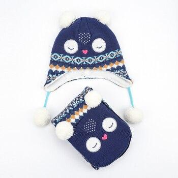 Girl Hat Scarf Set Winter Earflap Beanie Fleece Warm Autumn Pompon Cartoon Headwear Skiing Accessory Baby Toddler Outdoor