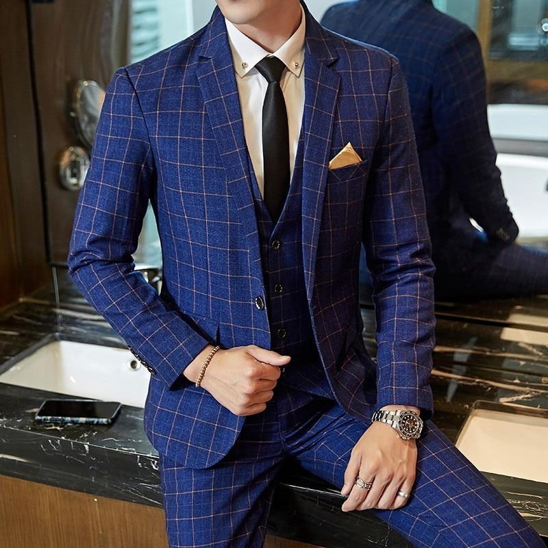 British Slim Fit 3Pcs Dress Suits Long Sleeve Single Button Blazer Sleeveless Vests Full Length Pants Plus Size Wedding Dress