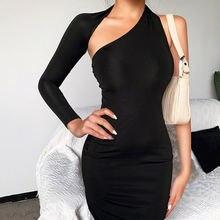 Черные короткие элегантные женские вечерние платья мини с одним