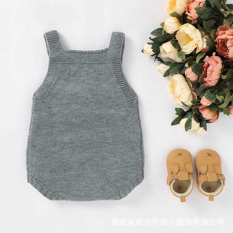 Autumn Baby Bodysuits Knitted Embroidery Sleeveless Jumpsuit Newborn Girl Sweater Toddler Kids Boys Knit Jumpsuit Baby Clothes 6