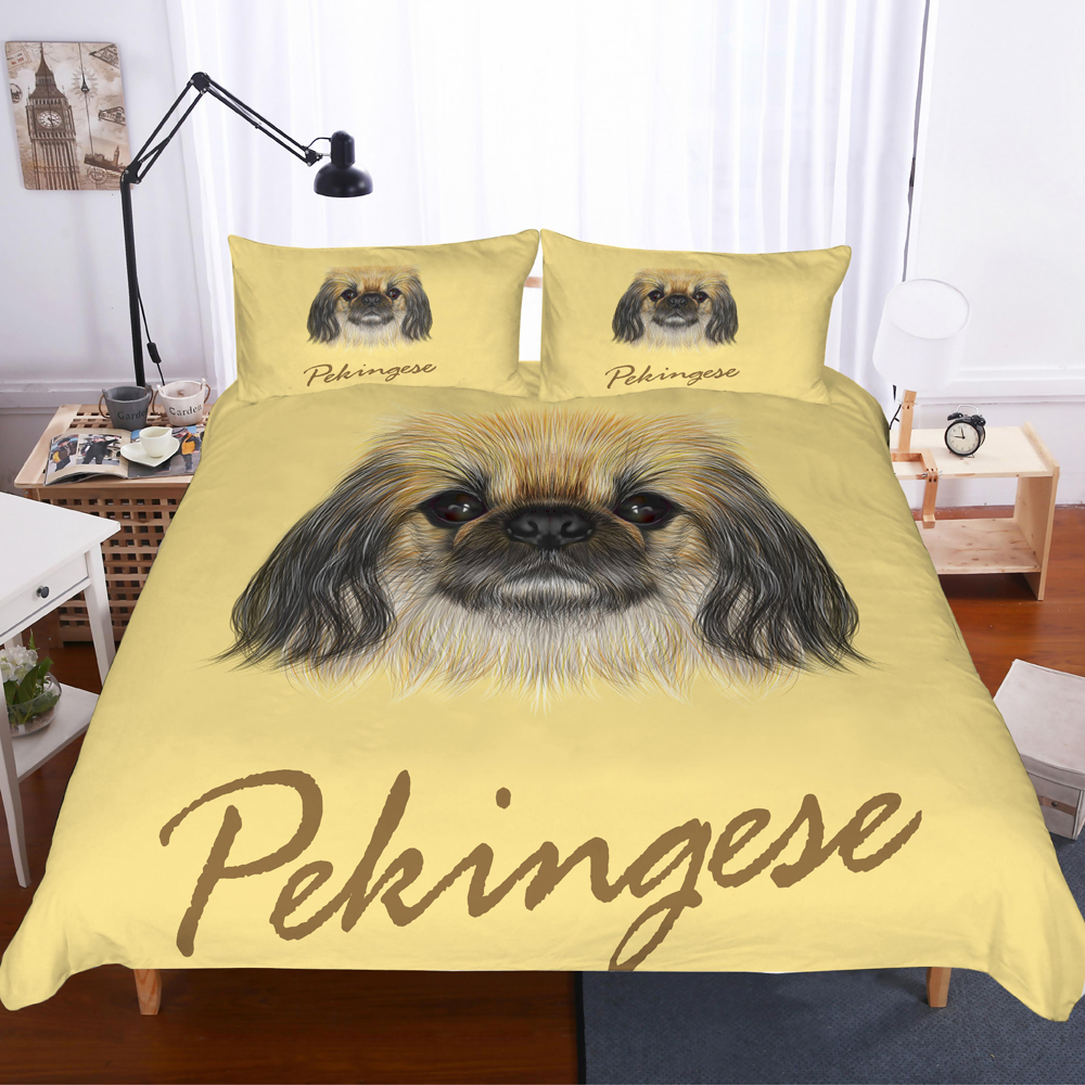 Pekingese Dog Bedding Set Yellow Bedroom Decor 100% Microfiber Hypoallergenic With Zipper 1PC Duvet Cover With Pillowcases