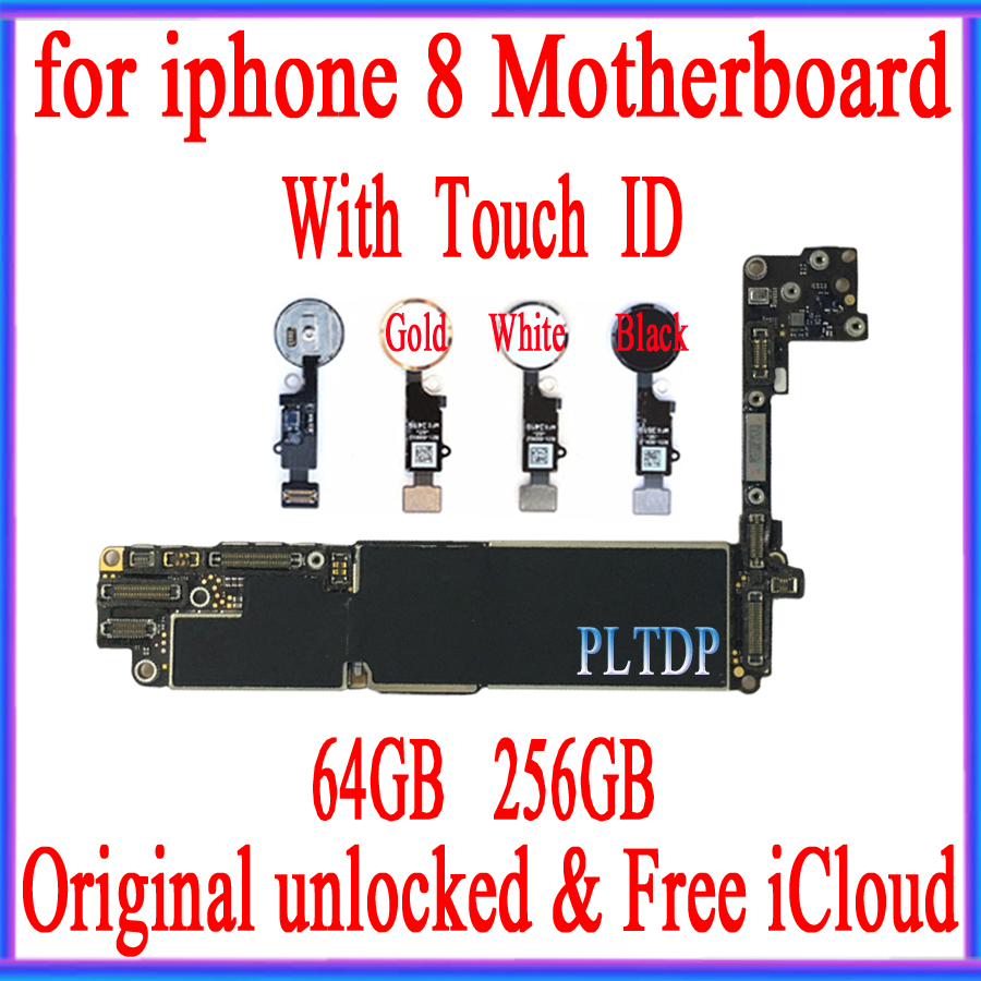 Unlocked for <font><b>iphone</b></font> <font><b>8</b></font> 4.7 <font><b>Motherboard</b></font> <font><b>With</b></font> <font><b>Touch</b></font> <font><b>ID</b></font>/NO <font><b>Touch</b></font> <font><b>ID</b></font>, 100% Original free iCloud Mainboard, 64GB / 256GB image