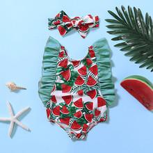 Toddler Kids Baby Ruffle Print Summer Swimwear Swimsuit Bikini One-Piece Bathing Outfits Toddler Infant Baby Girls Swimsuit 2020 tanie tanio Poliester Dziecko dziewczyny Dwa Kawałki Pasuje prawda na wymiar weź swój normalny rozmiar Drukuj