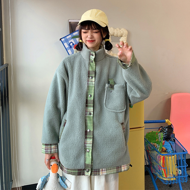 Cashmere Fleece Jacket Women Winter Stand Collar Single Breasted Light Green Coat Outwear Fake Two Pieces Plaid Patchwork Jacket