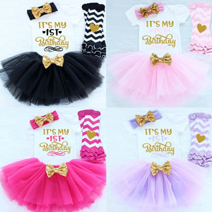 It's My 1st 2nd Birthday Dress Baby Girl Dresses for Girls Party Infant Clothing Toddler Winter Baby Clothes Tutu Cake Outfits(China)