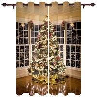 Árbol de Navidad luces Navidad tema ventana cortinas decoración del hogar cortinas para sala de estar dormitorio Cocina Artículos