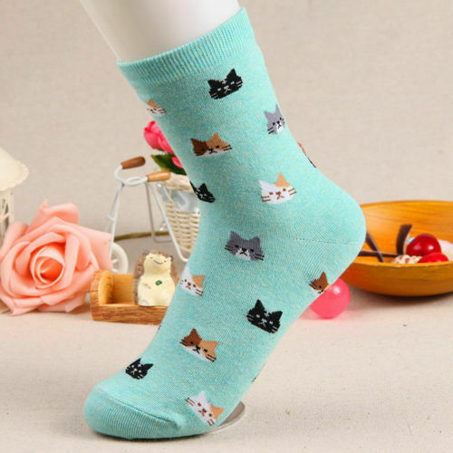 Fashion New Ladies Women Lovely Cute Cat Socks Animal Cartoon Cotton Socks 5 Colors 1 Pair