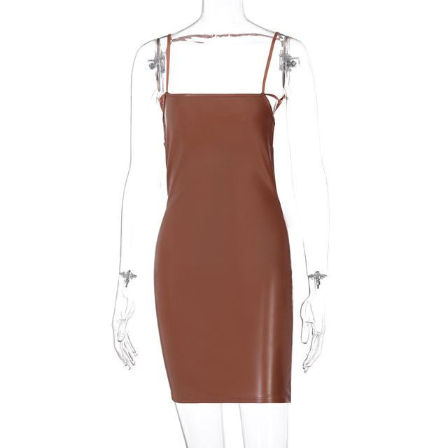 Sexy 2021New Backless Fashion Temperament Pu Woman Dress Sheath Solid Hollow Out Above Knee Mini Spring 7