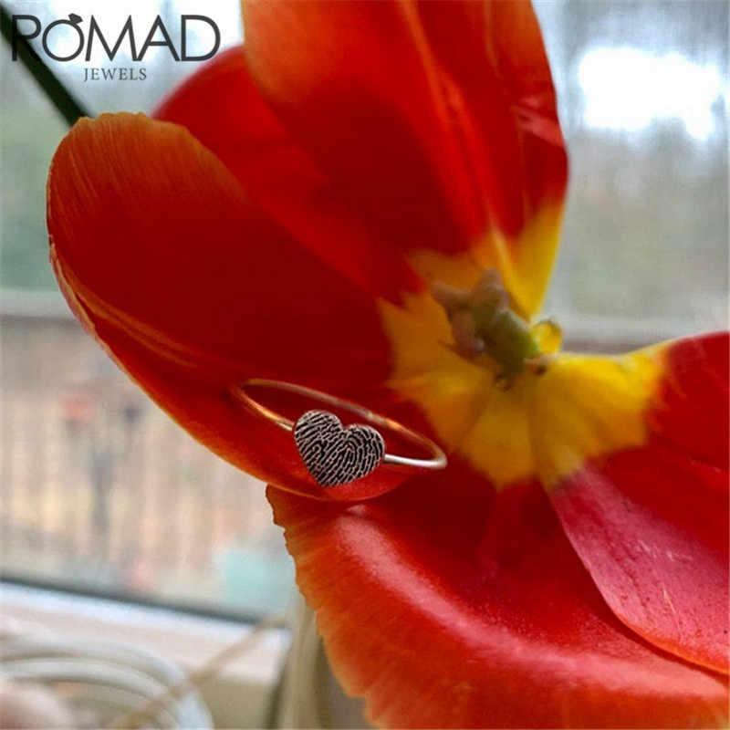 ROMAD אופנה לב בצורת חתונה לנשים אישיות טביעות אצבע אצבע טבעות תכשיטי אמיתי 925 כסף סטרלינג טבעות
