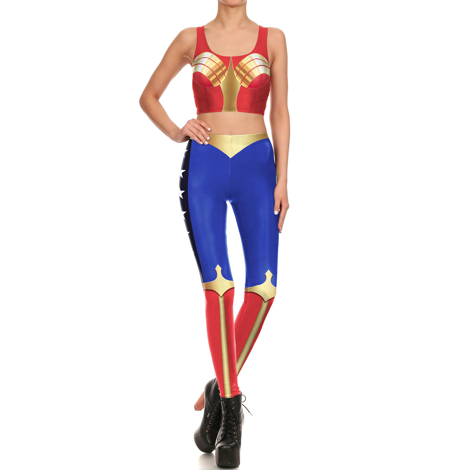 20.19 Million Halloween Dressing Up Wonder Woman Cosplay Clothing Elasticity Leggings Printted Waistcoat WOMEN'S Suit